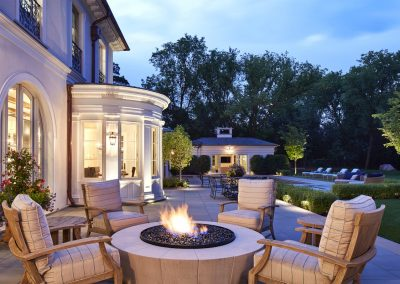 JK&Sons Edina French Mediterranean dream home firepit