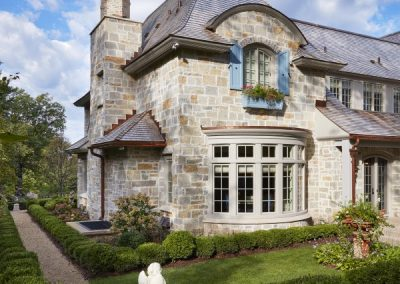 chimney feature on French Country home in St. Paul