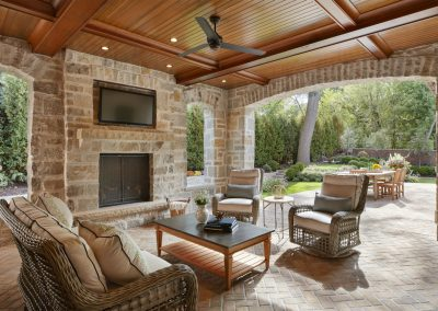 outdoor entertainment area for French Country home in St. Paul
