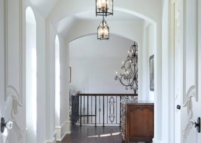 hallway in French Country home in St. Paul