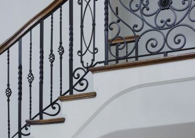 stairway railing in French Country home in St. Paul