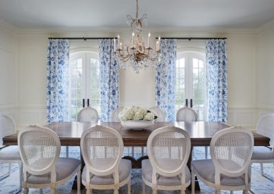 dining room in French Country home in St. Paul
