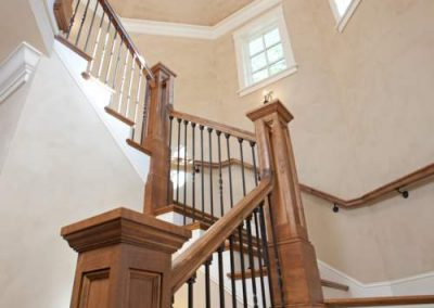 staircase detail in Interlachen Country Club home in Edina