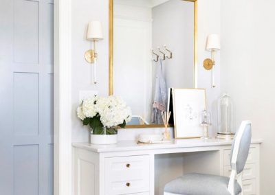 make-up mirror in walk-in closet home renovation