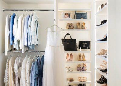 shoe shelf in walk-in closet home renovation