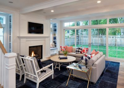 living room in Edina Shingle Style Home