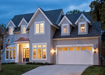 twilight lighting on Edina Shingle Style Home