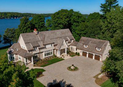 aerial view of John Kraemer & Sons Lake Minnetonka Coastal style home