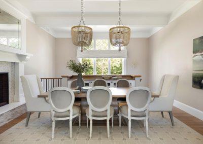 dining room of John Kraemer & Sons Lake Minnetonka Coastal style home