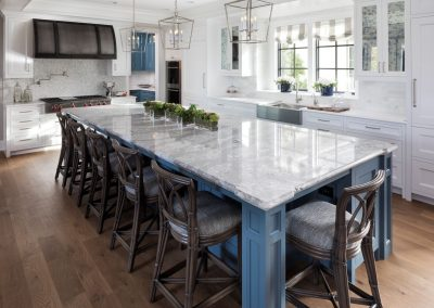 kitchen island in Lake Minnetonka Chateau built by John Kraemer & Sons