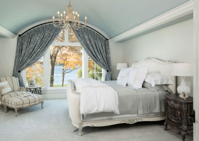 master bedroom in Lake Minnetonka Chateau built by John Kraemer & Sons
