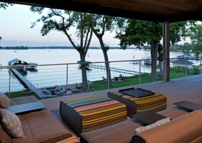 covered deck in Modern Lakefront home