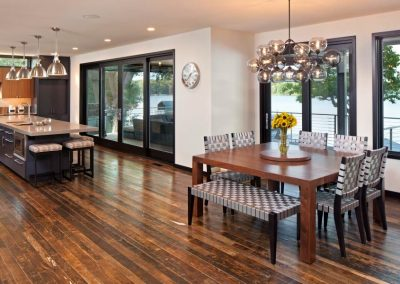 dining room in Modern Lakefront home