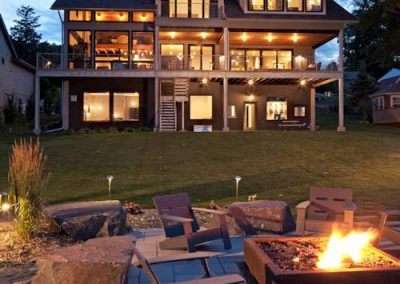 Modern Lakefront home constructed by homebuilders John Kraemer and Sons