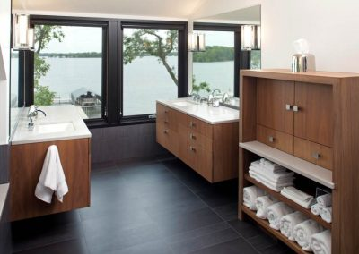 master bath in Modern Lakefront home
