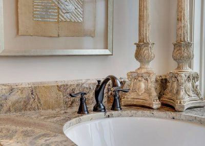 washbasin detail at Candy Cove home on Prior Lake