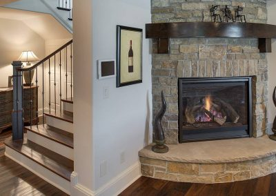 fireplace detail at Candy Cove home on Prior Lake