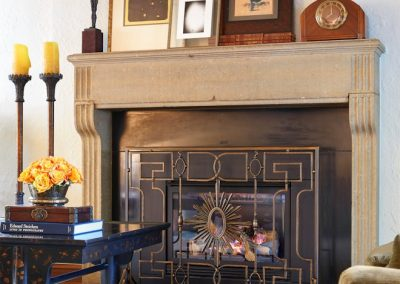 fireplace detail in St. Paul Burgundy Tudor Renovation