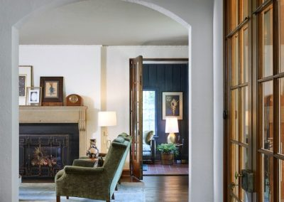 arched entry in St. Paul Burgundy Tudor Renovation