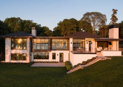 lakeside exterior of Tonka Bay Modern home