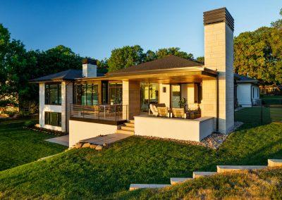 backyard patio in Tonka Bay Modern home