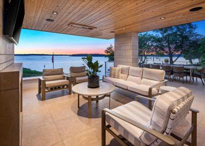 outdoor entertainment center in Tonka Bay Modern home