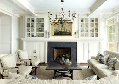 Wayzata Bay Coastal new home construction - living room