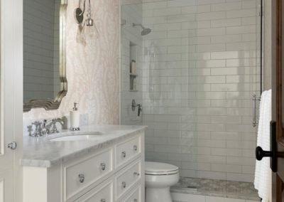 Wayzata Bay Coastal new home construction - guest bath