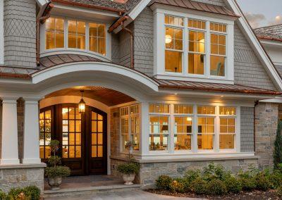 Wayzata Bay Coastal new home construction - front windows