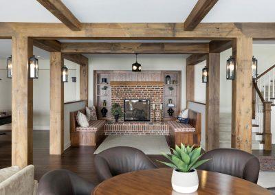 Wayzata Bay Coastal new home construction - lower level fireside room