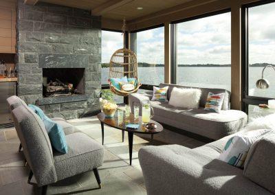 boathouse interiors Wayzata Bay Estate